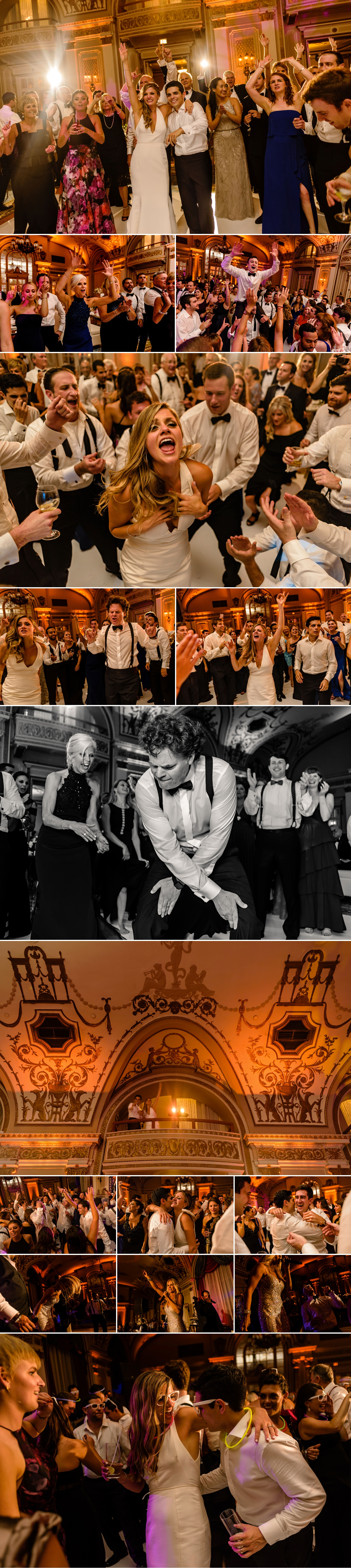photos of candid bride and groom moments on the dance floor during a jewish wedding at the chateau laurier wedding in ottawa ontario