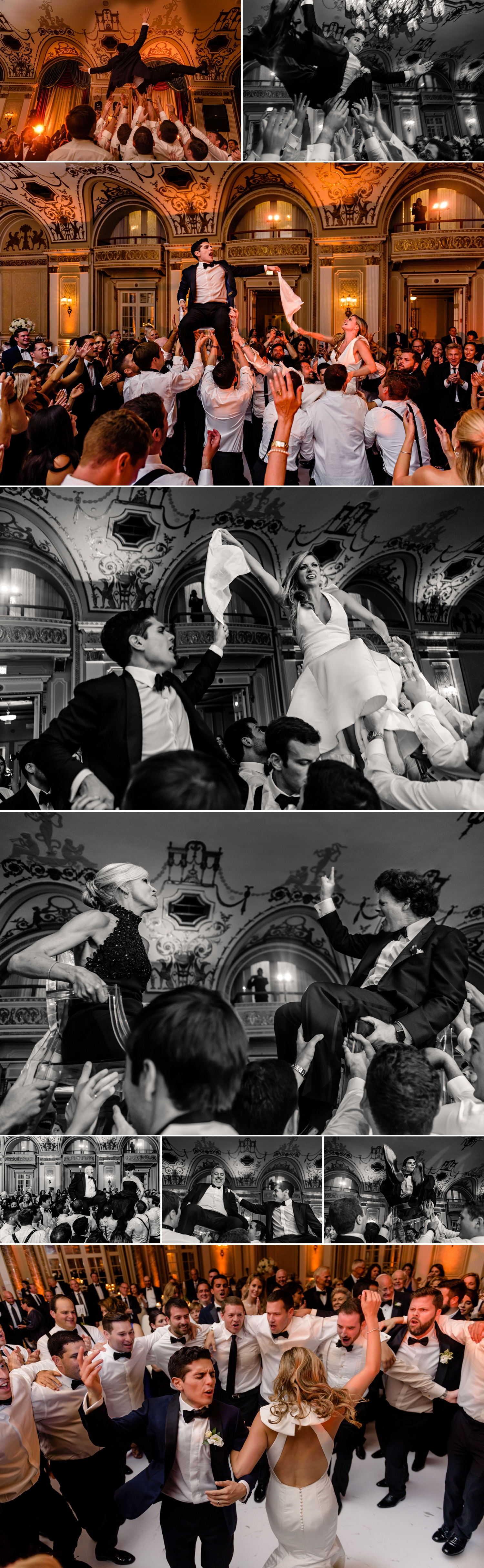 photos of candid moments of the hora during a jewish wedding at the chateau laurier wedding in ottawa ontario