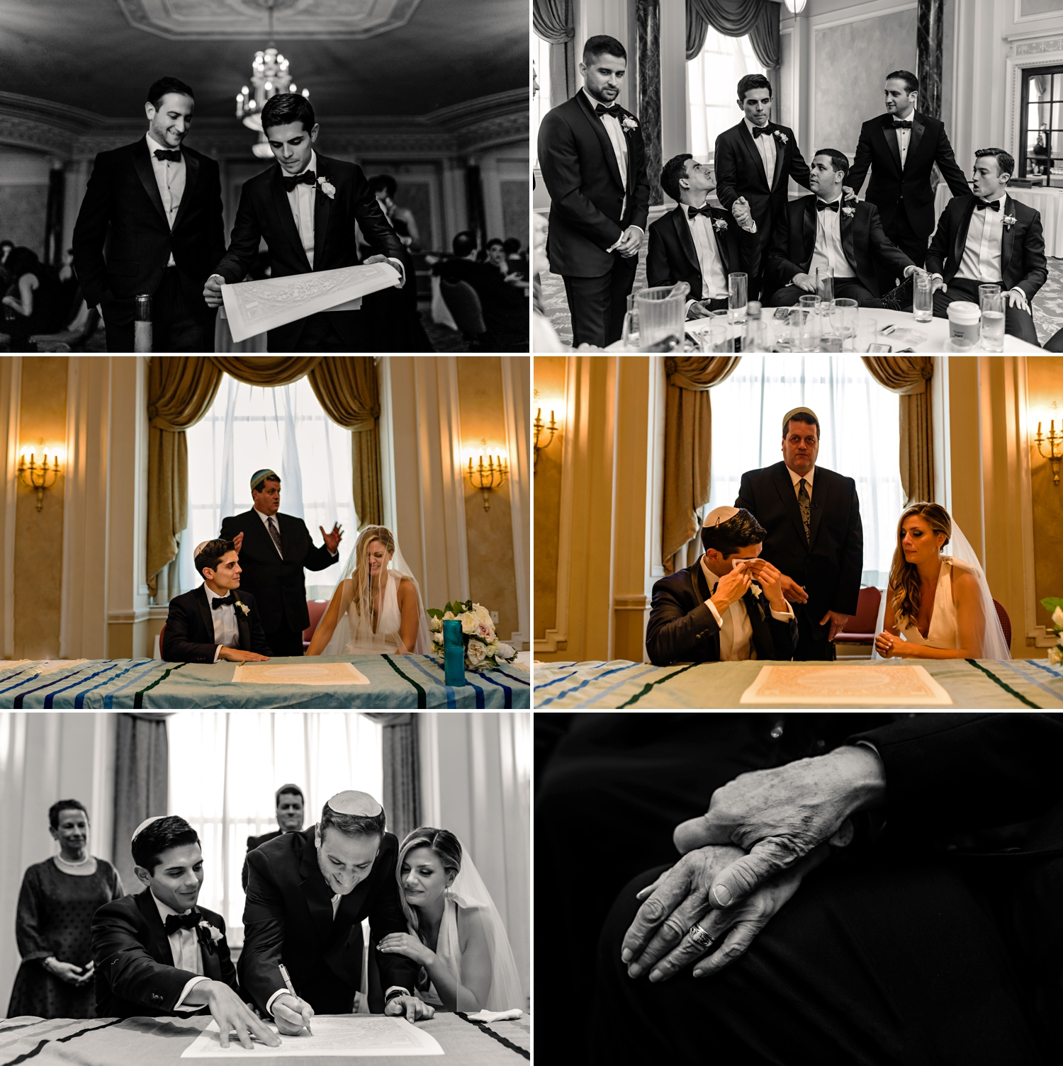 photos of candid moments during the ketubah signing during a jewish wedding at the chateau laurier wedding in ottawa ontario