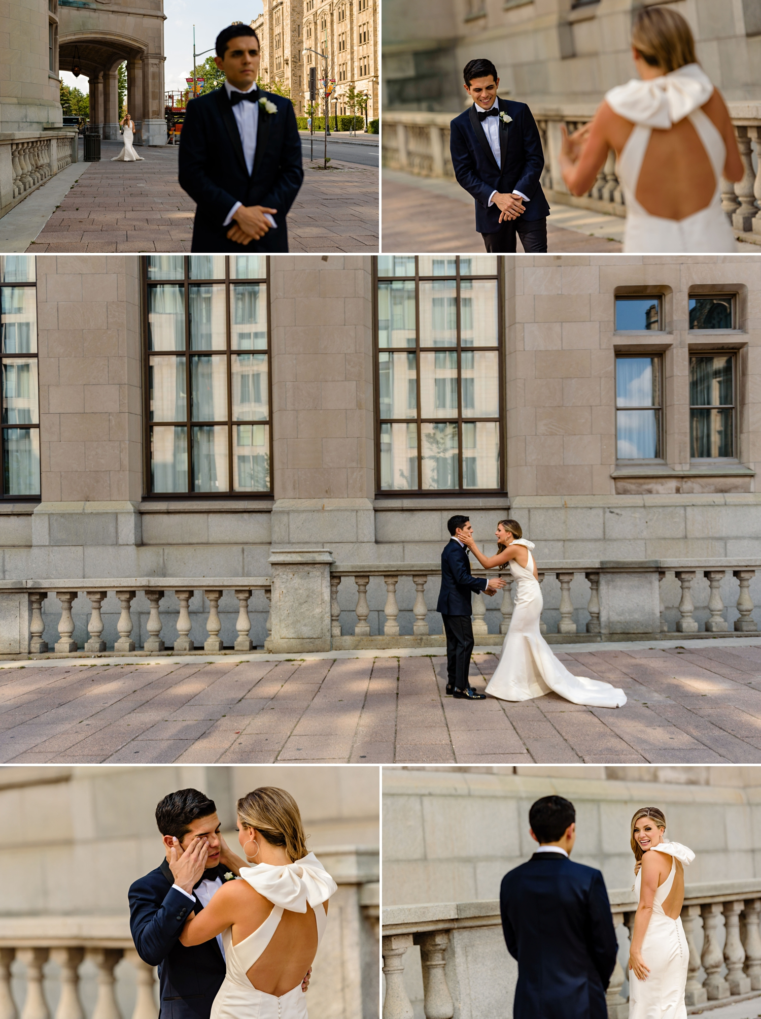 photos of the bride and grooms first look before a jewish wedding ceremony at the chateau laurier wedding in ottawa ontario