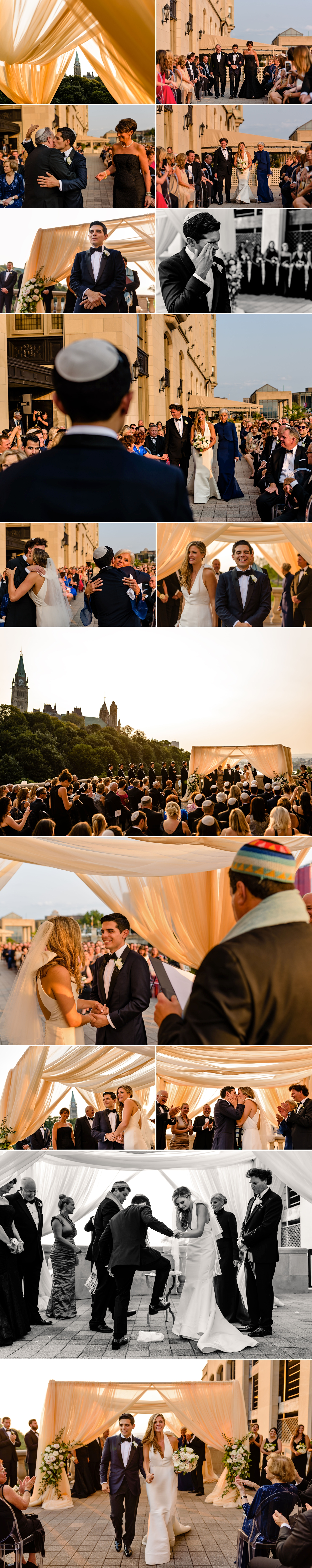 photos of candid moments during a jewish wedding ceremony at the chateau laurier wedding in ottawa ontario