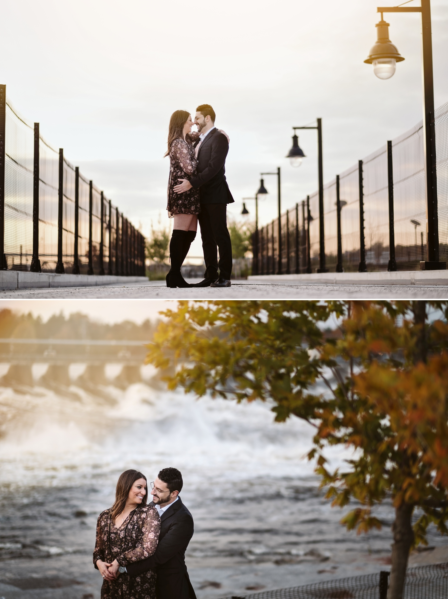 photo of engaged couple near the zibi project in ottawa ontario during sunset