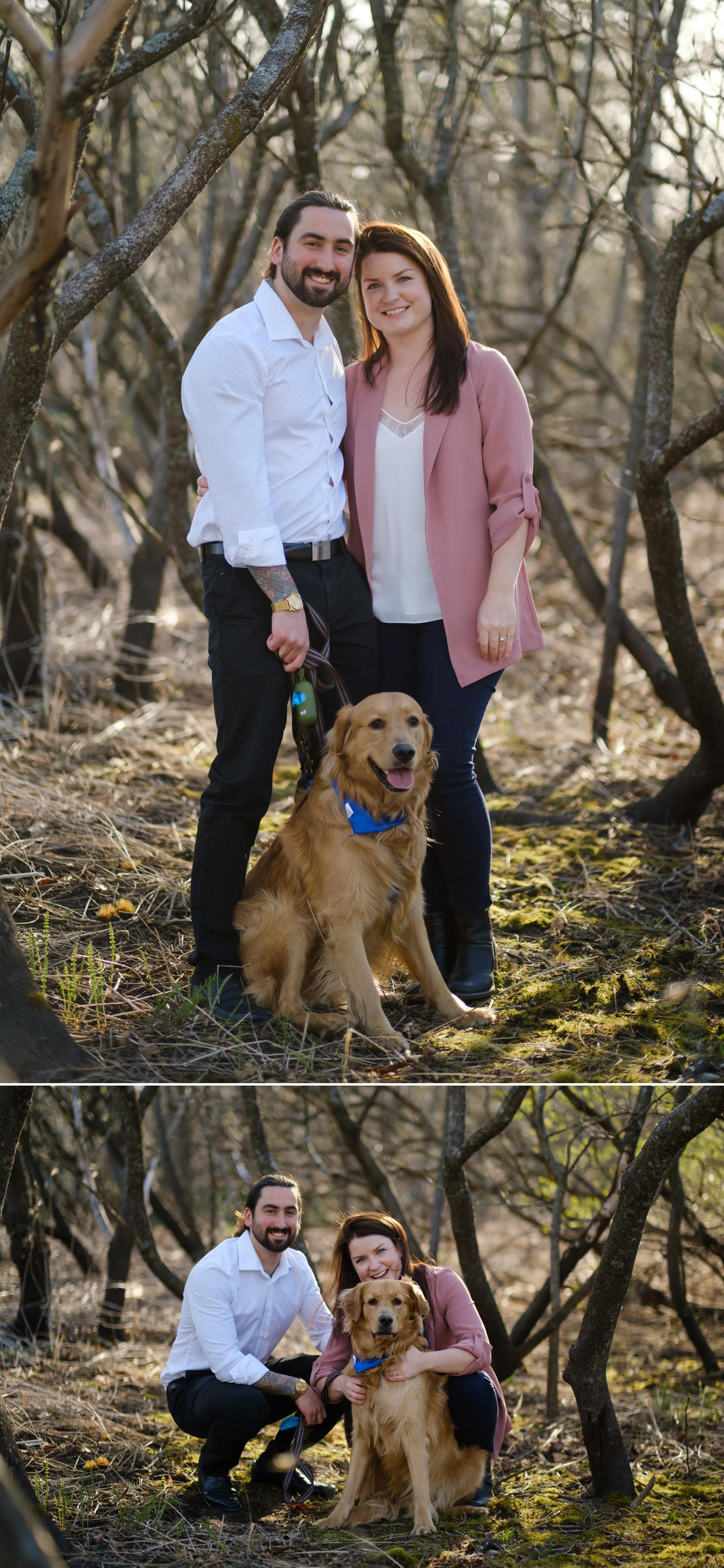 a portrait of an engaged couple and their pet dog