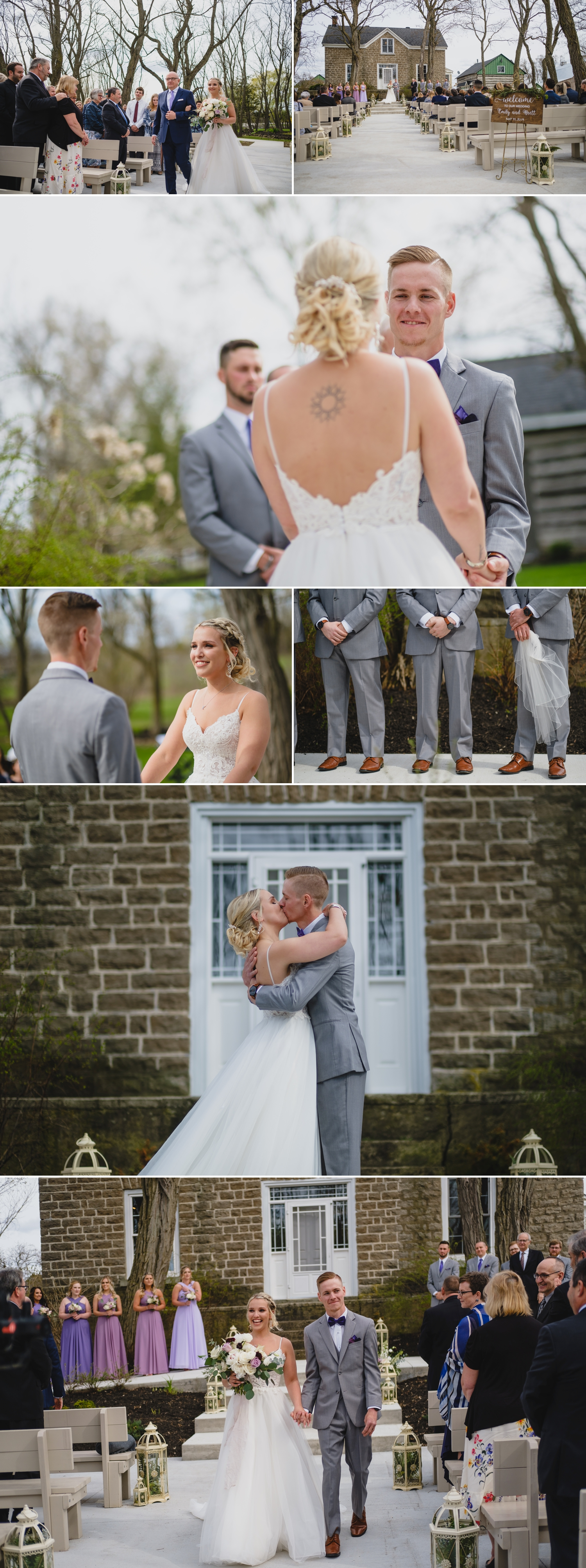 photos of candid moments during stonefields estate wedding ceremony in carleton place ontario