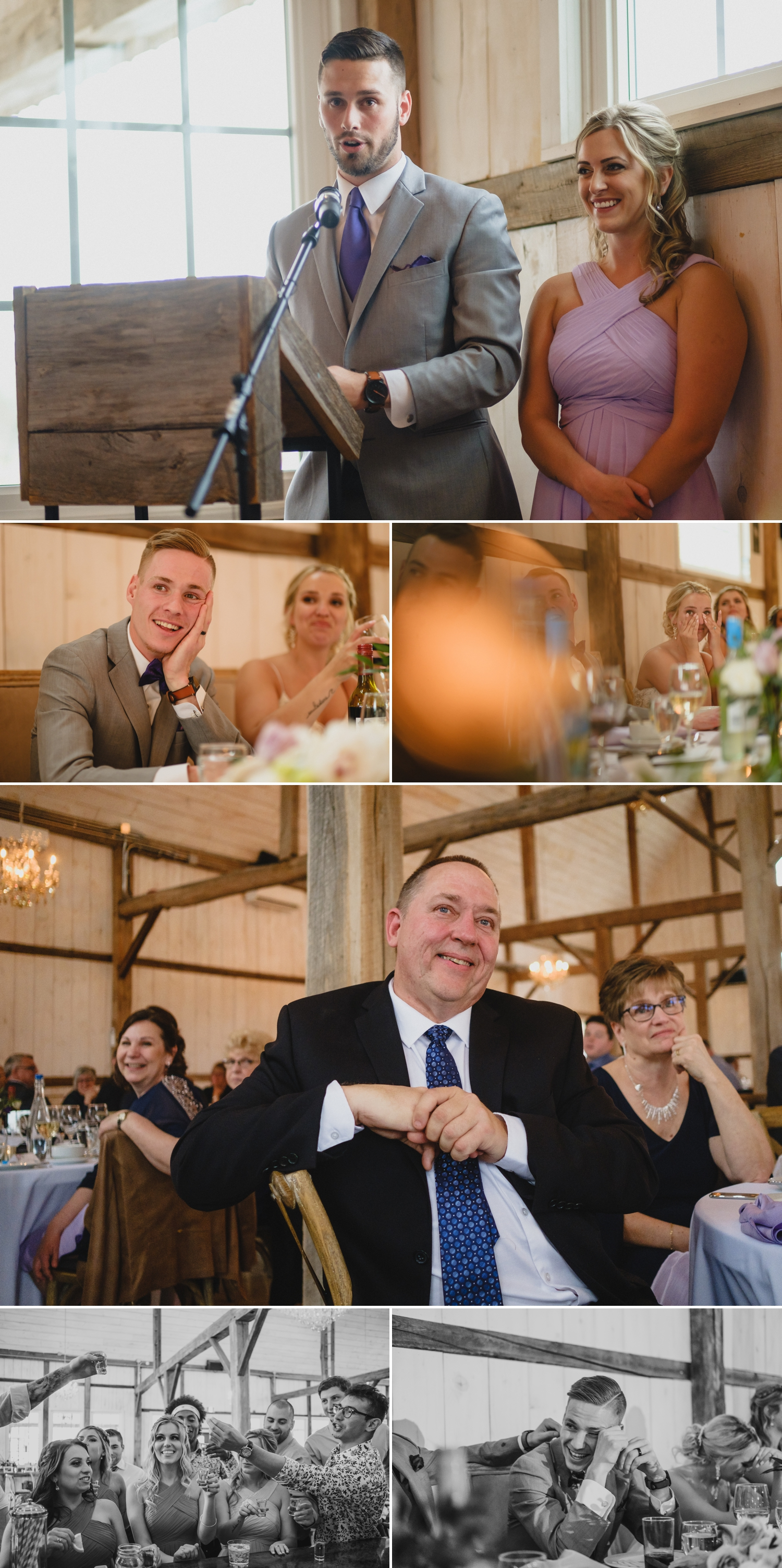 photos of candid moments during stonefields estate wedding reception in carleton place ontario