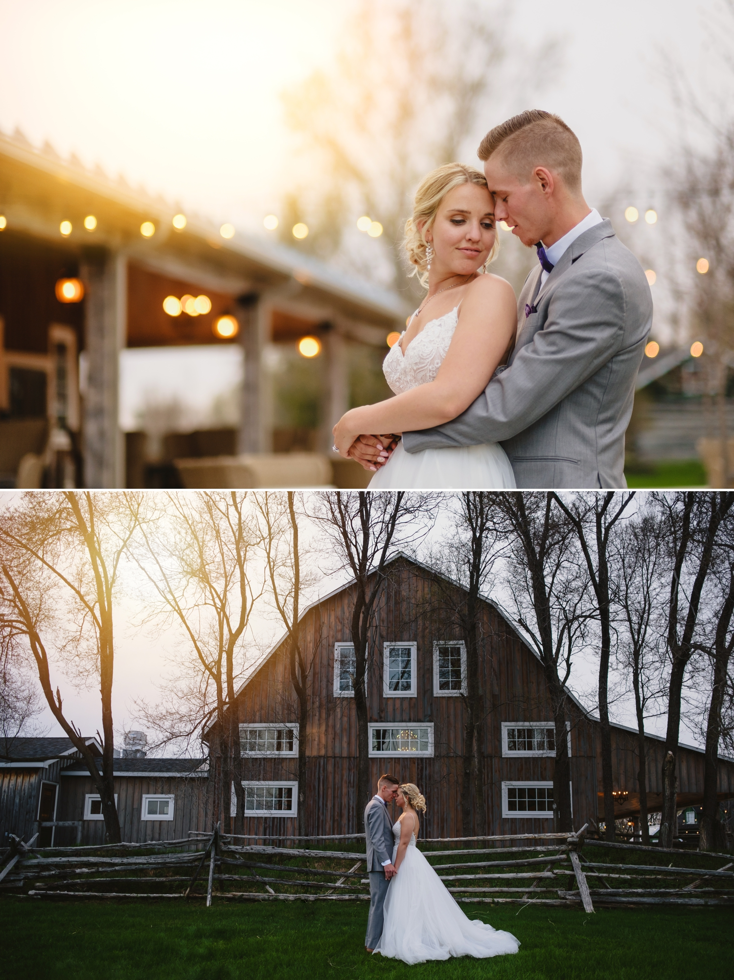 sunset portraits of bride and groom during stonefields estate wedding ceremony in carleton place ontario
