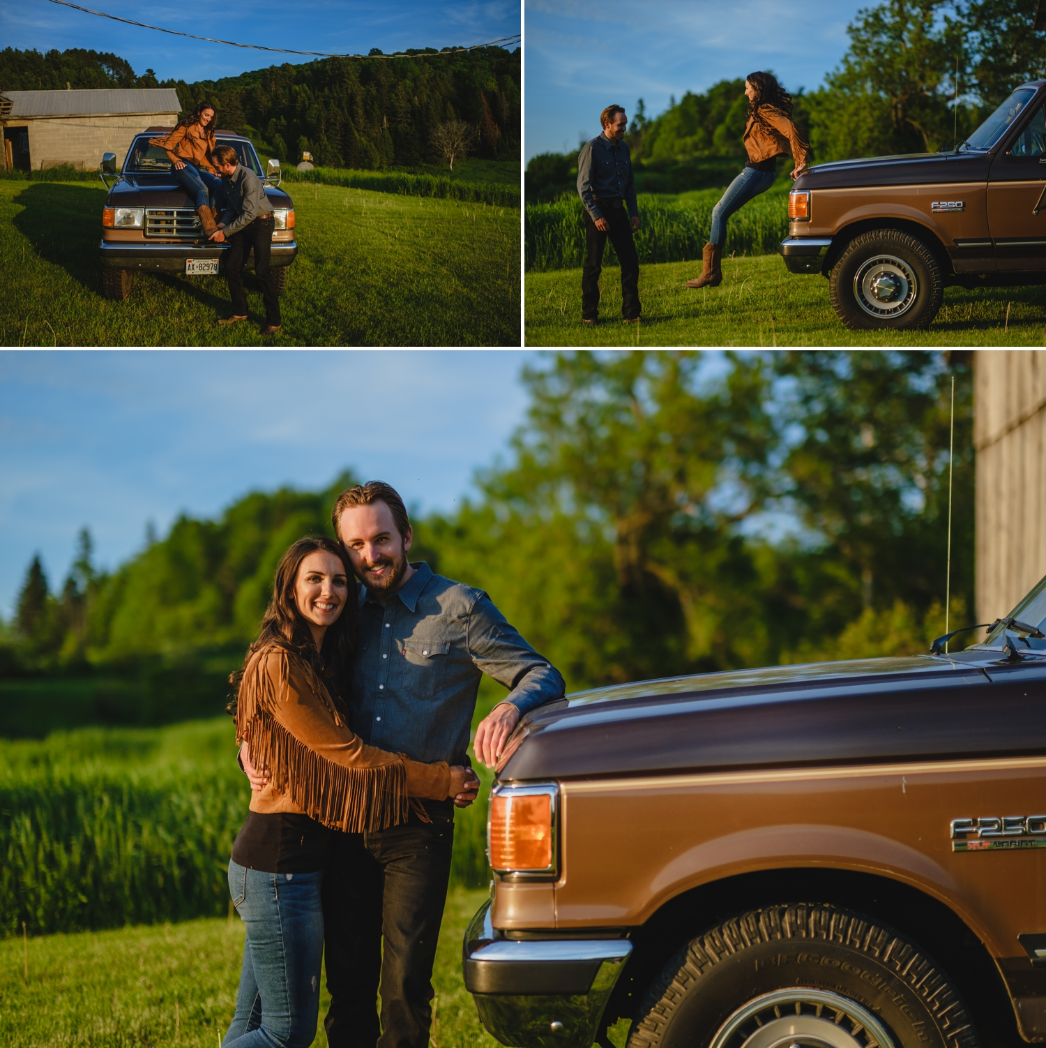 engaged couple posing for photographs in front of a vintage ford f150 truck