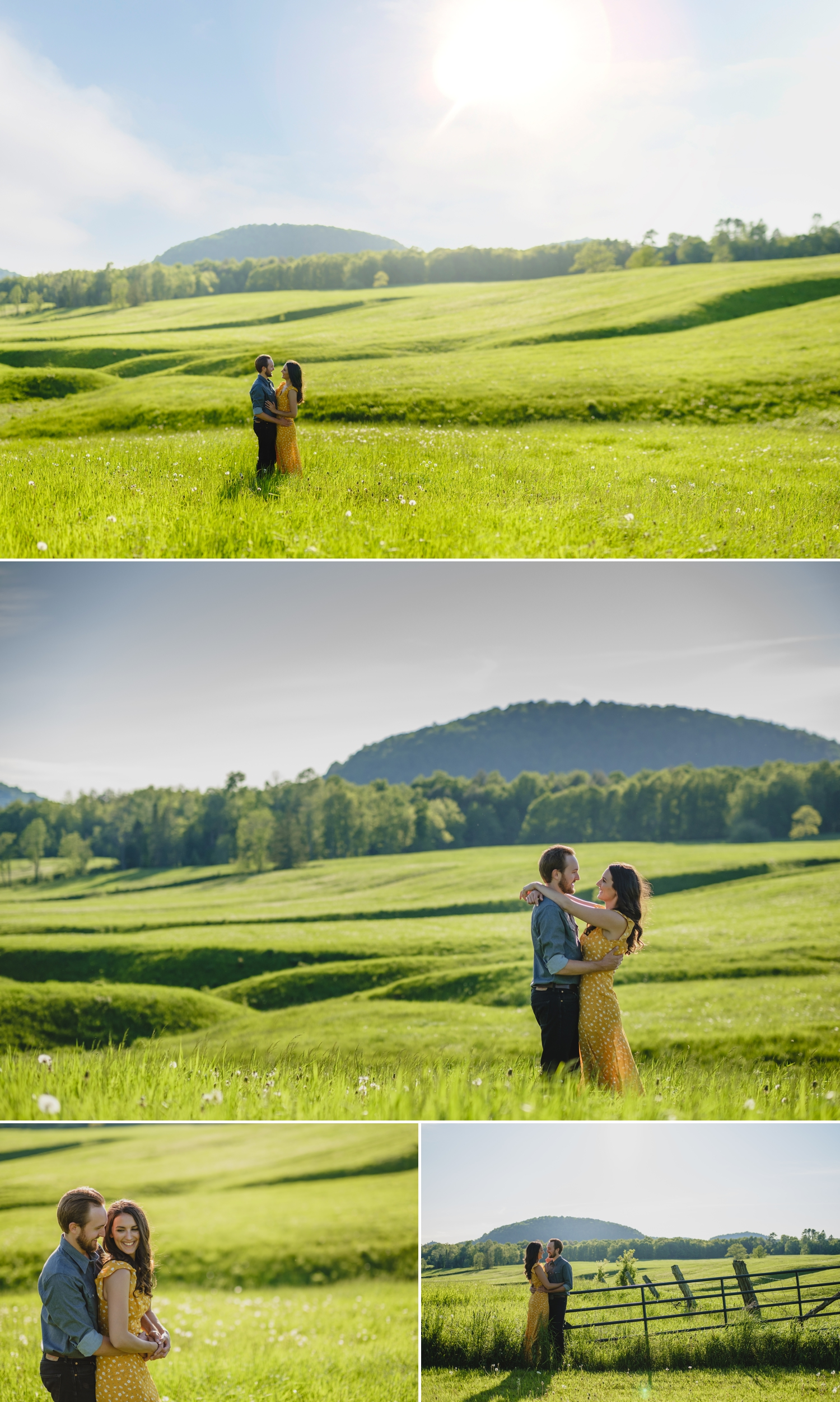 country couple posing for enagement photos in a beautiful farm field