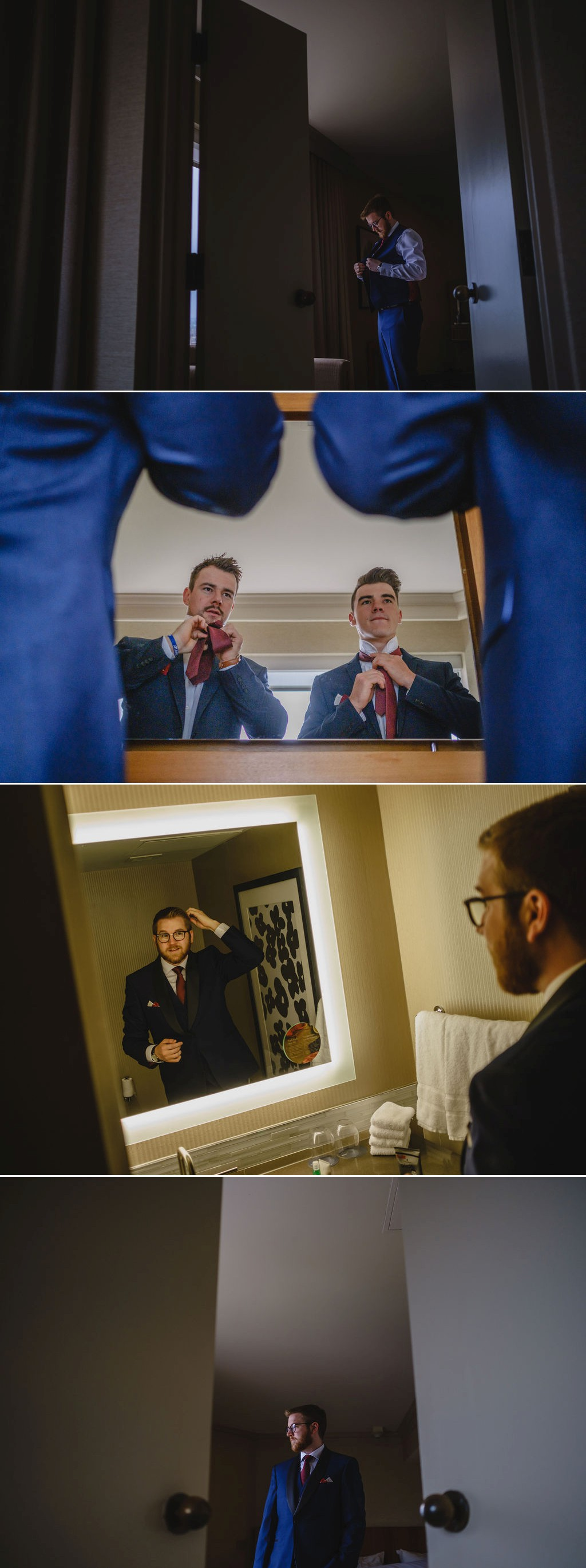photos of a groom getting ready for his wedding at the westin