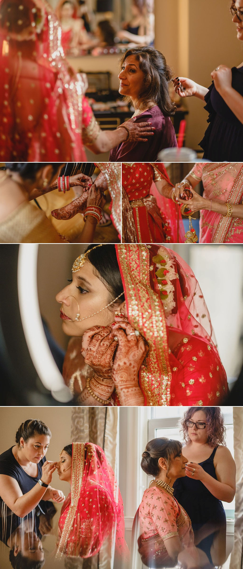 photographs of an indian bride getting ready for her wedding at the chateau laurier in ottawa
