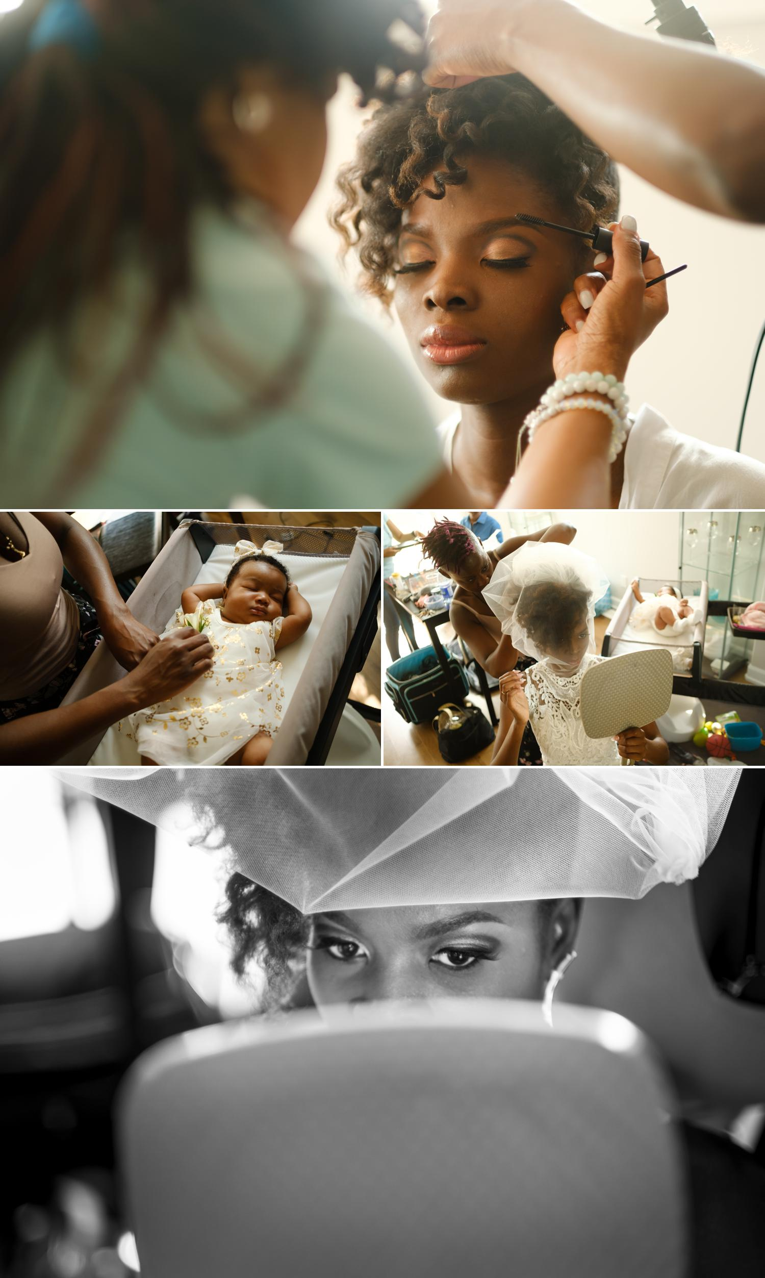 photos of an african bride getting ready for her wedding