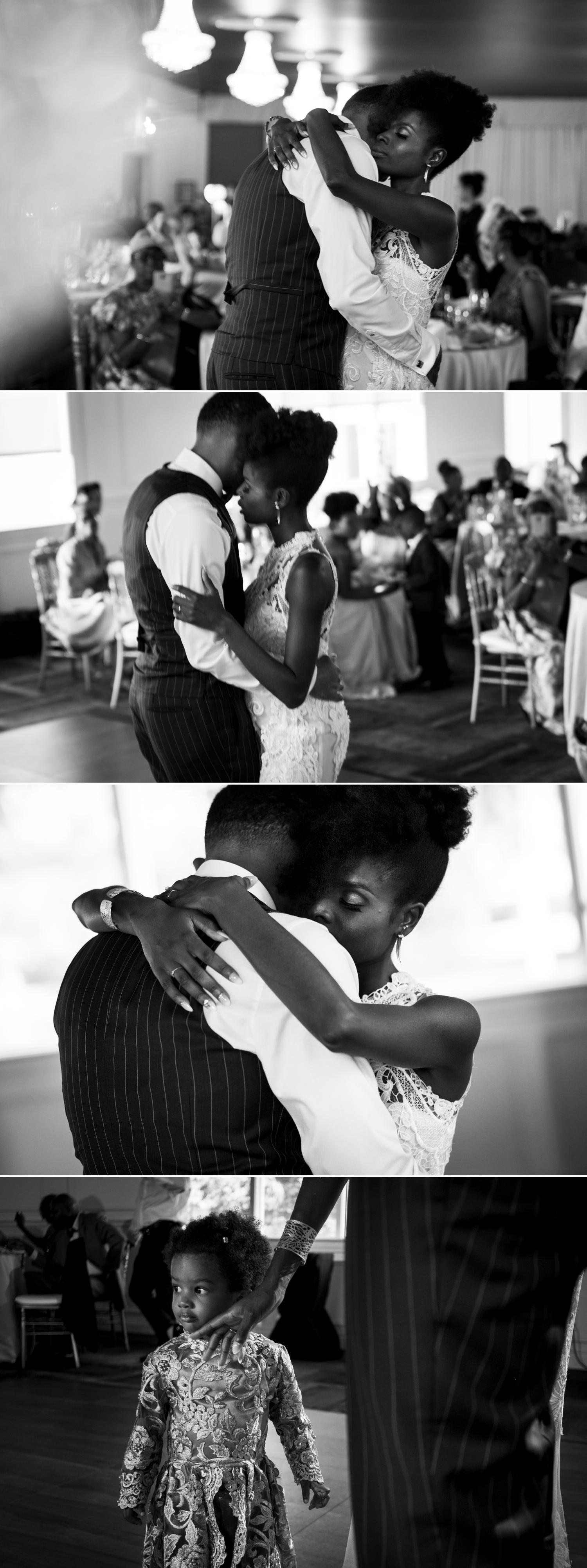 black and white wedding photos of a first dance at orchard view