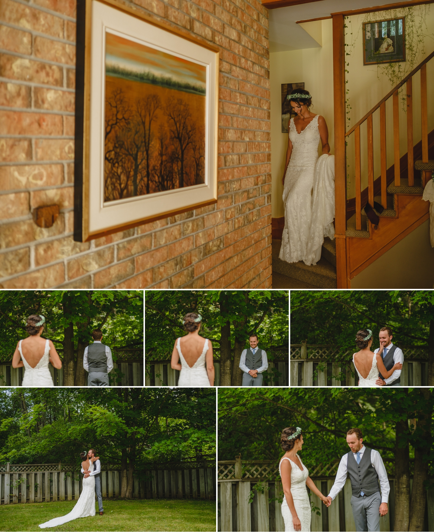 bride and groom have their first look before metcalfe ontario wedding