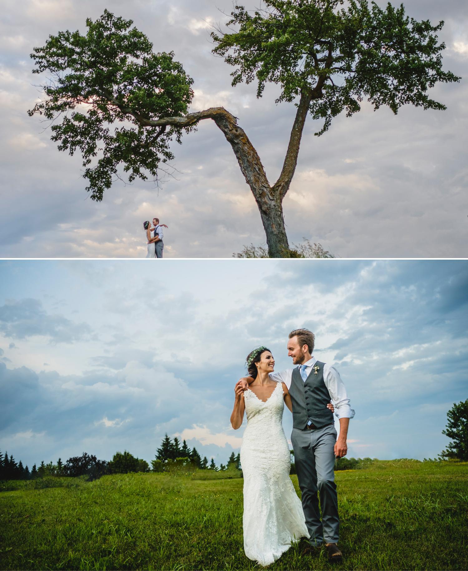 bride and groom sunset photos during a metcalfe ontario wedding reception