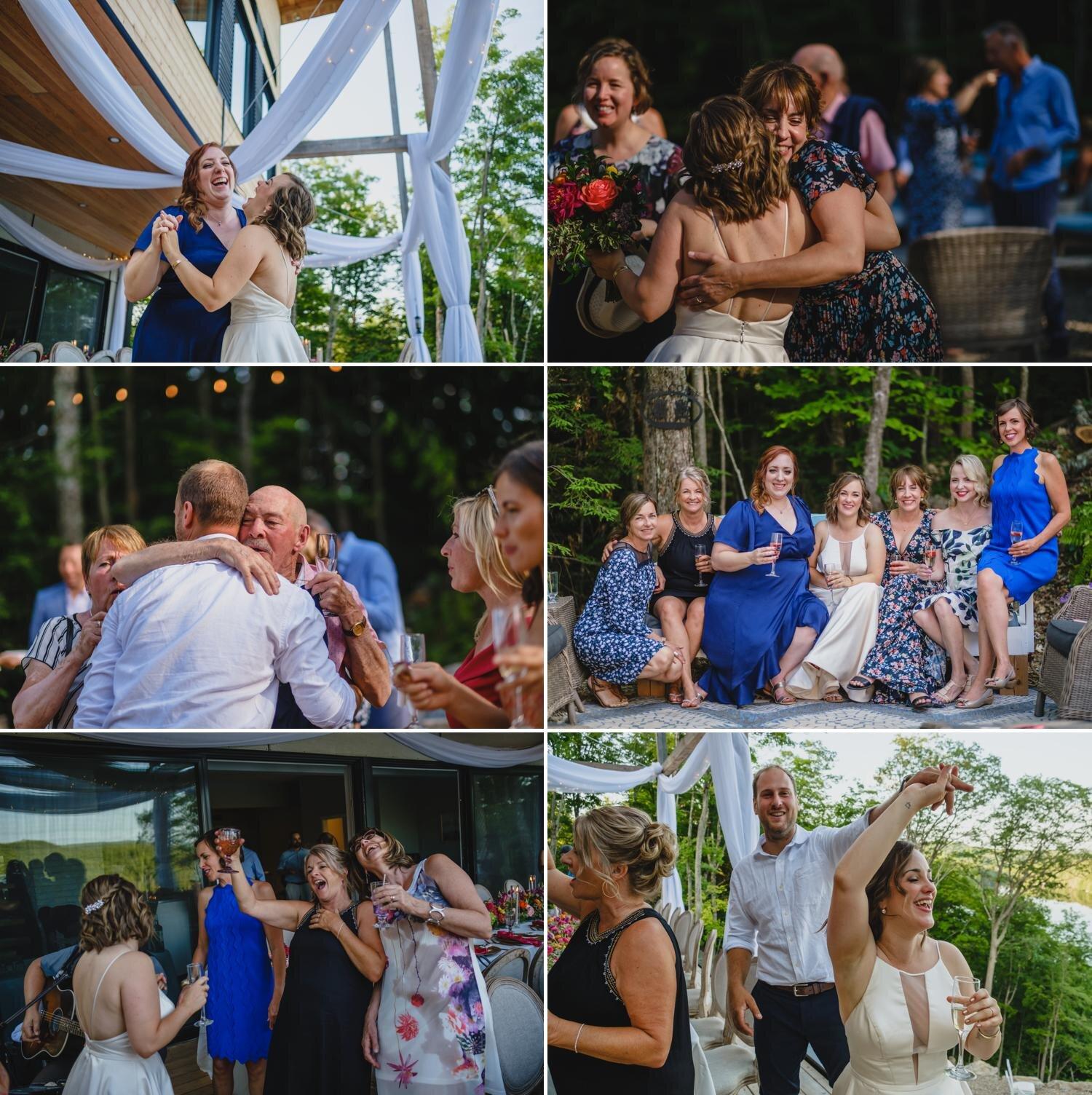 candid photographs at a wedding reception