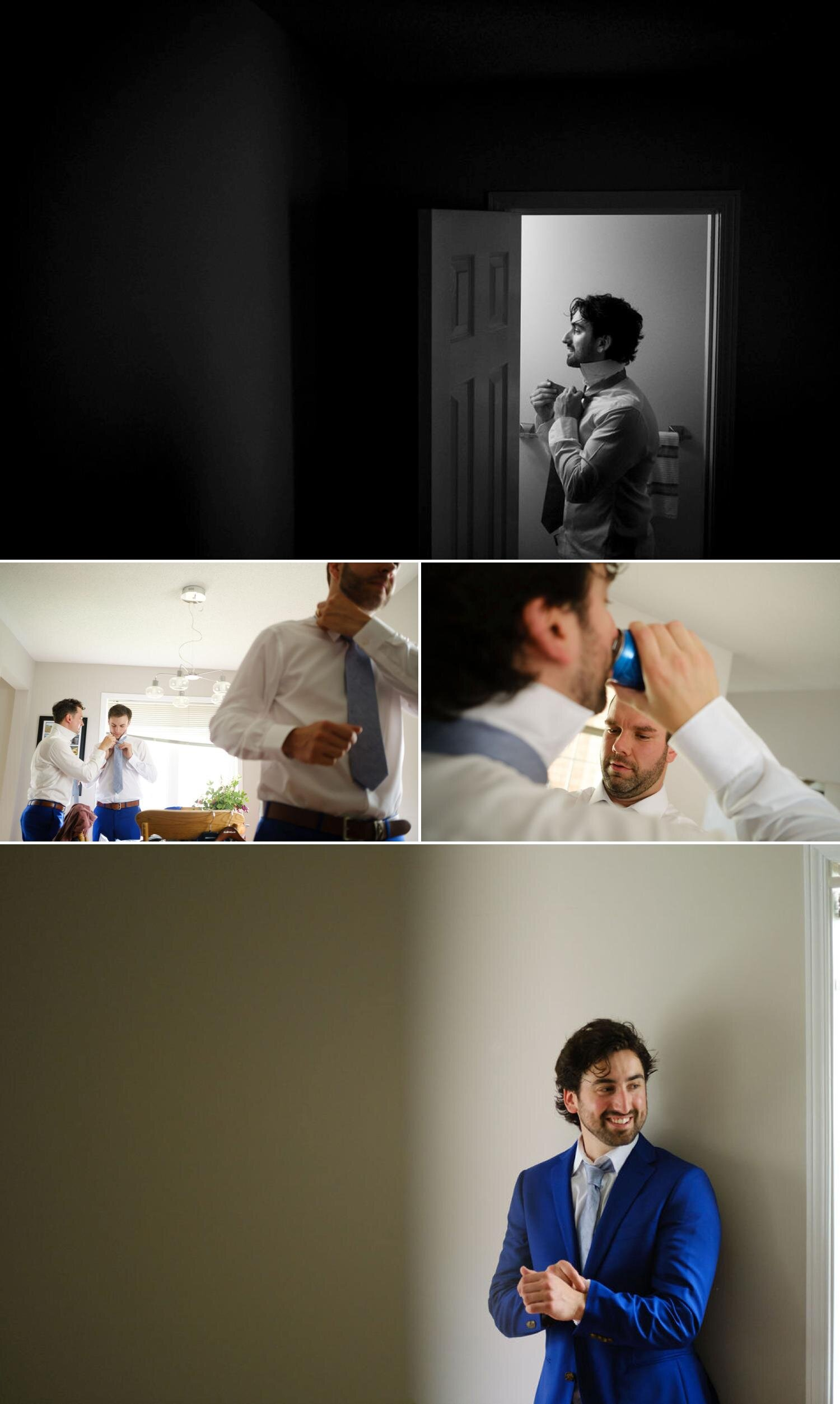 photos of a groom getting ready for his wedding