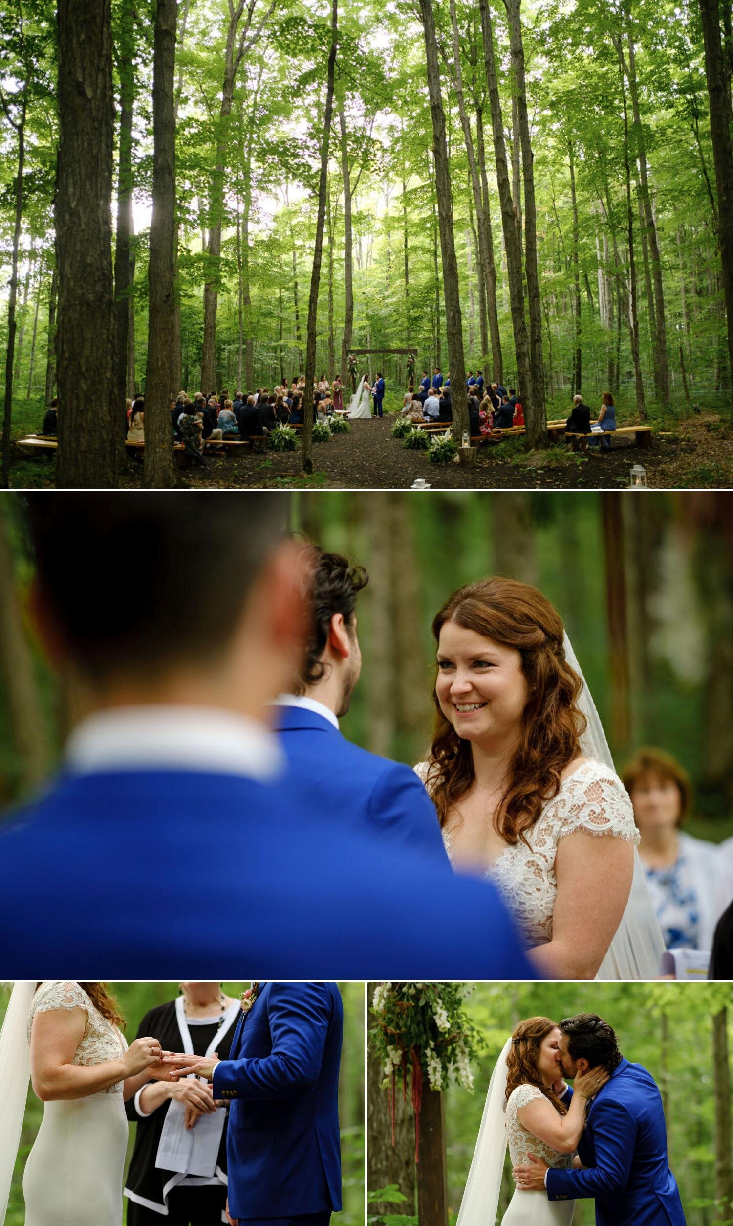 photos of a  ceremony in the woods at temples sugarbush
