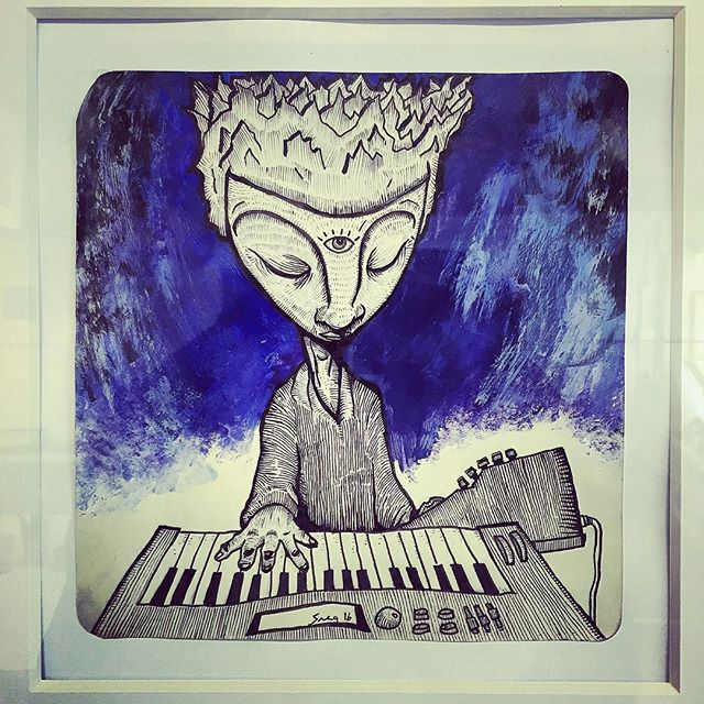 """""""Music is the key"""" ( china ink and acrylics, 2016)"""
