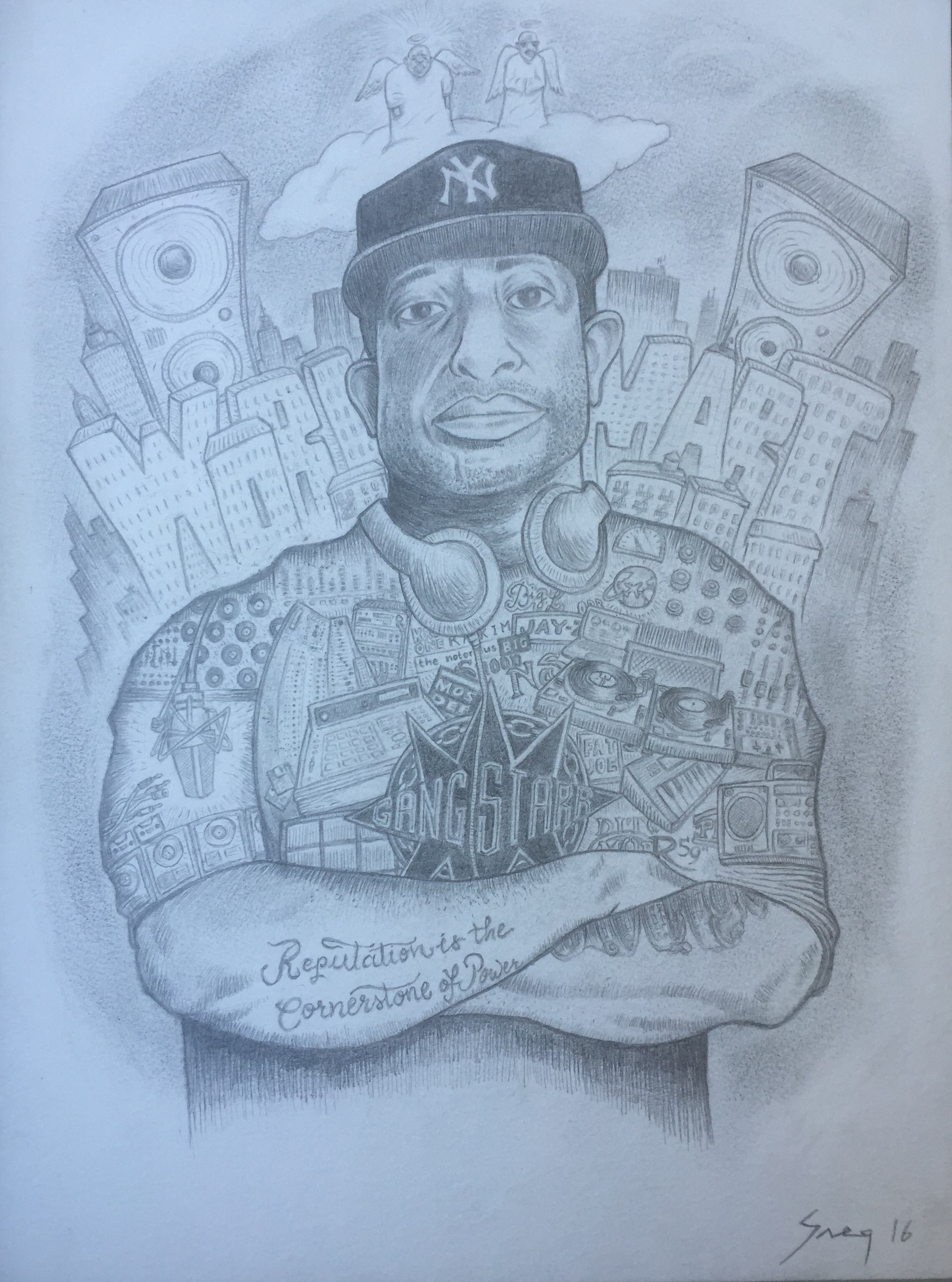 The pencil drawing of Dj Premier. He said he would hang the original in his NYC studio.