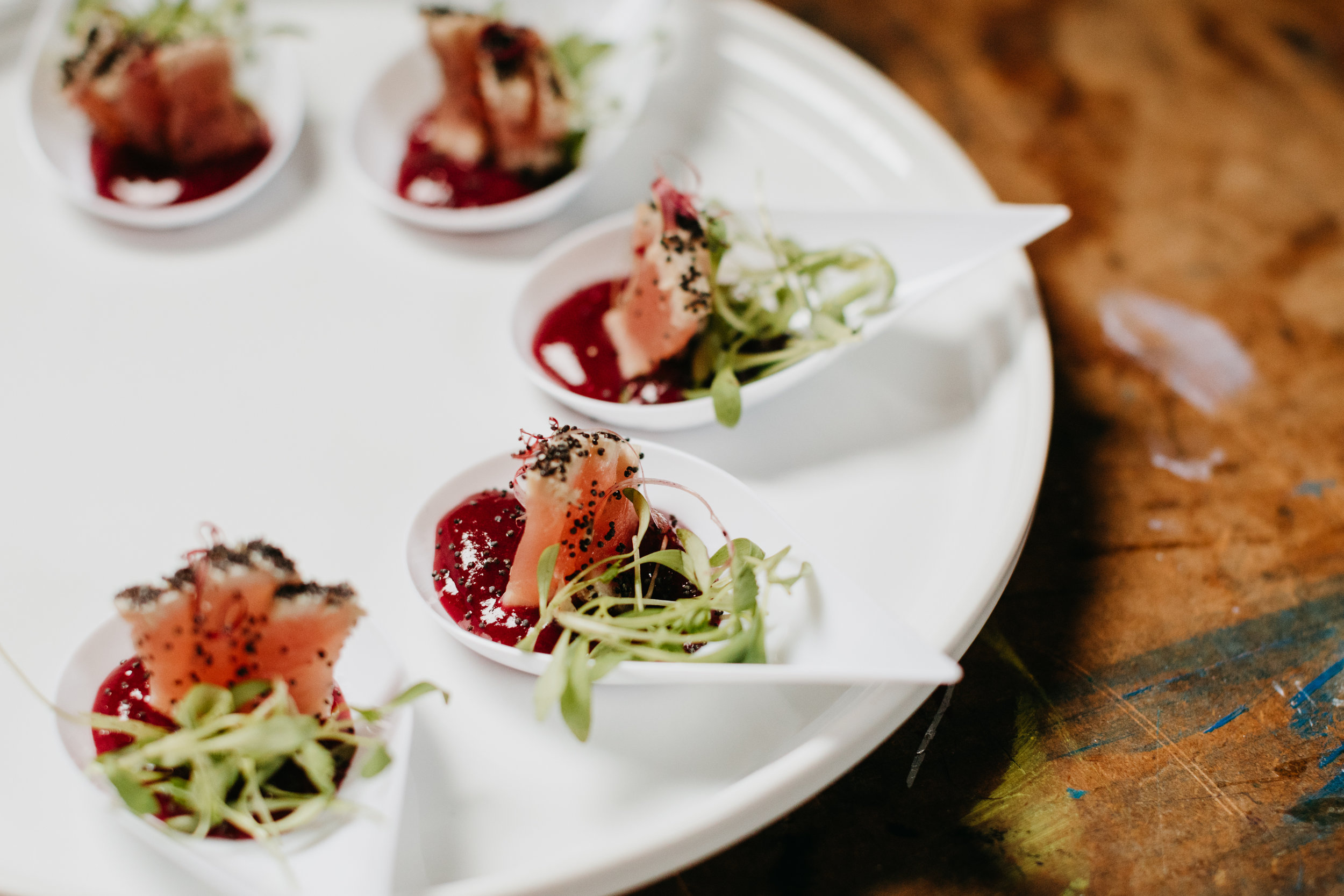 Ahi Tuna with Poppyseed and Strawberry-Rhubarb Jam
