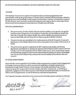 BC First Nations' Data Governance Initiative champion signature page