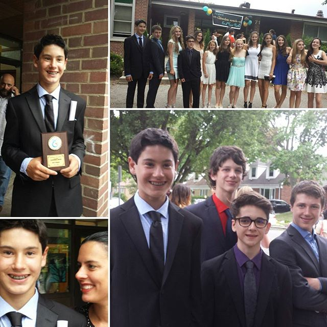 So proud of Will! Grade 8 grad last night and recipient of the Faye Badame Leadership Award. Wow.