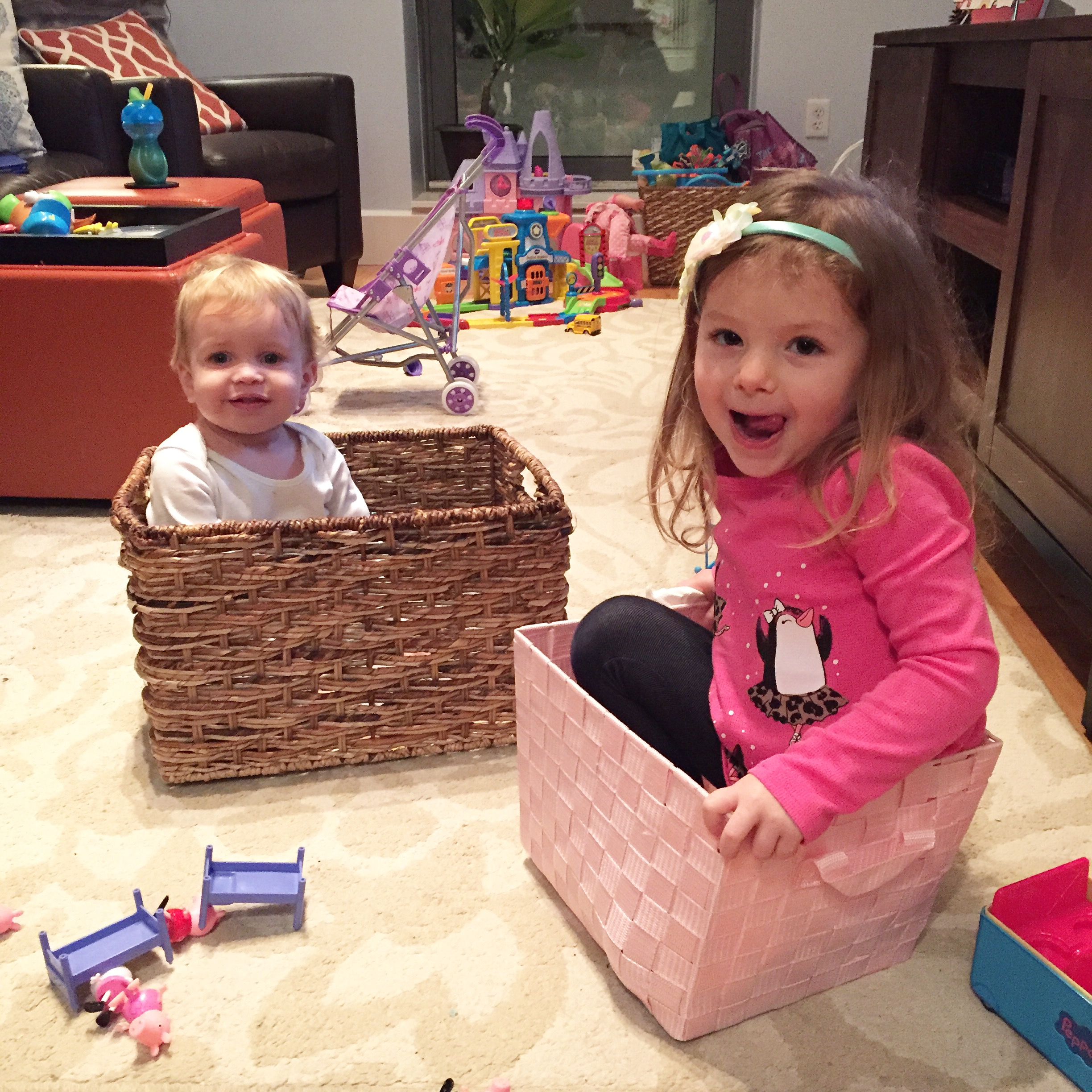 penelope + megan's son hunter in baskets during the blizzard. they did this on their own. i swear.