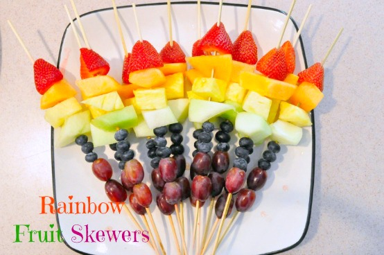 rainbow fruit skewers -