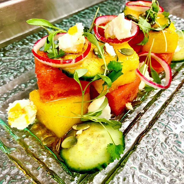 BABÉ FARMS WATERMELON SALAD red & yellow watermelon / radish / organic baby kale / cucumber / pepita / queso fresco / cayenne vinaigrette. @babe_farms