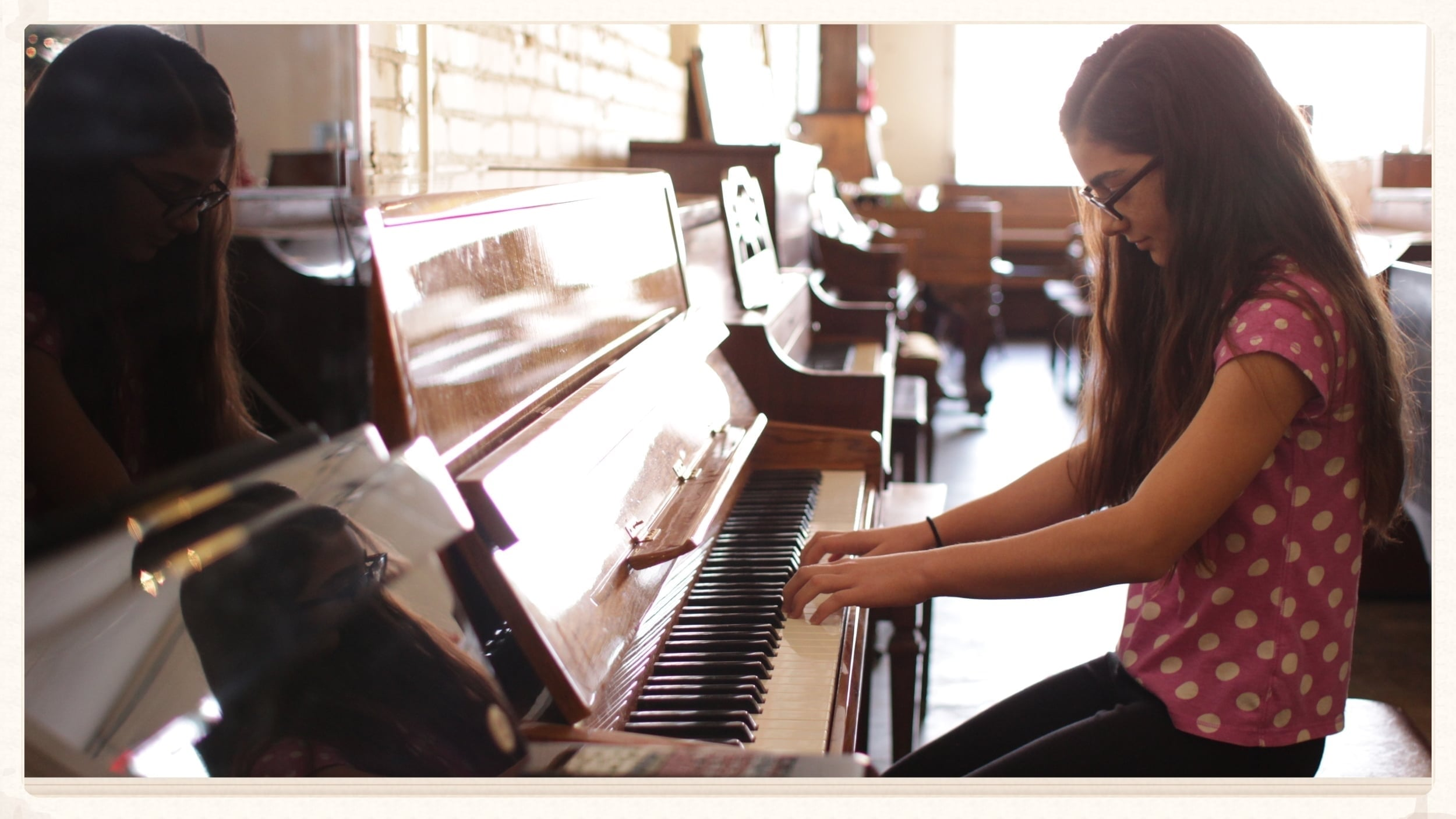 """November 2015  Kansas City   Recipient  VIANNA M., 11 :   """"Piano is my passion. I love every lesson I get. One day I want to play on a real stage in front of an audience."""""""