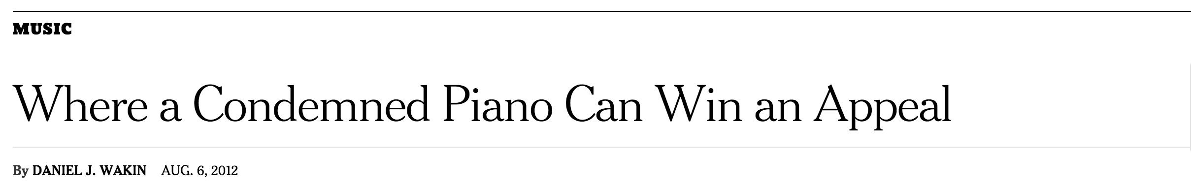 New York Times: Keys 4/4 Kids accepts all pianos. (Aug '12)