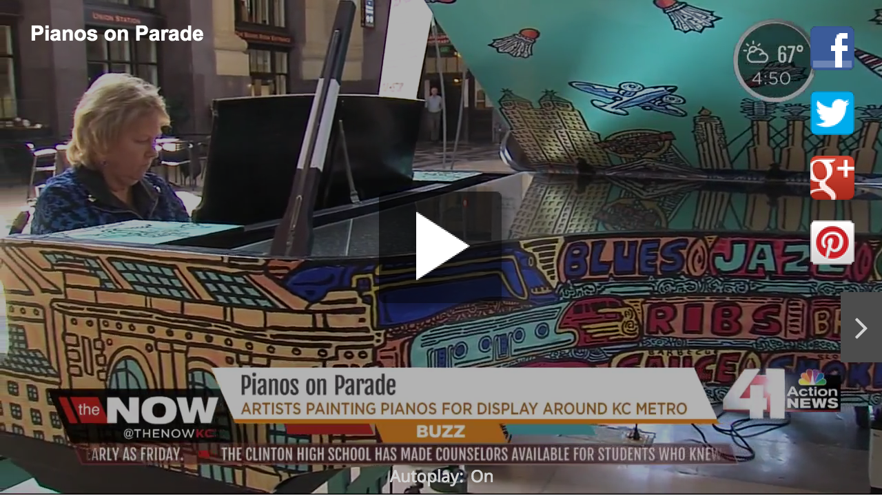 KSHB: Many places, including The Plaza and the Kansas City Zoo,sponsored the pianos to raise money for the Kansas City Music Teachers Association and Keys 4/4 Kids.(May '15)