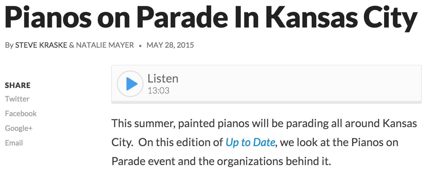"""KCUR 89.3: """"Some of the artists went 3D on us and they actually added props to the top of the piano and everything else...Why did they do that?"""" - Steve Kraske (May '15)"""