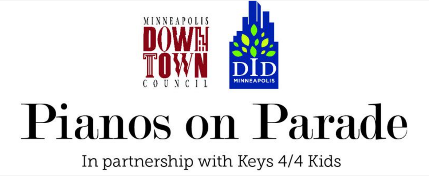 Minneapolis Downtown Council :  Each piano is painted by local artists to evoke a Downtown Minneapolis theme, including iconic buildings, neighborhoods, sports stadiums, art designs, bridges and must-see destinations. (June '16)