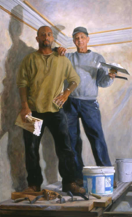 """The Plaster Craftsmen (Walter and Wally Walden)  , oil on linen, 66"""" x 40""""  Second Honor Award, Portrait Society of America, 2006"""