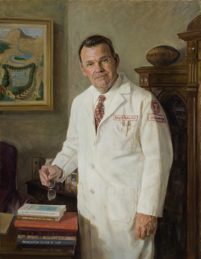"Robert S. Fisher, M.D.  , oil on linen, 42"" x 32""  Collection Temple University, Philadelphia, PA"