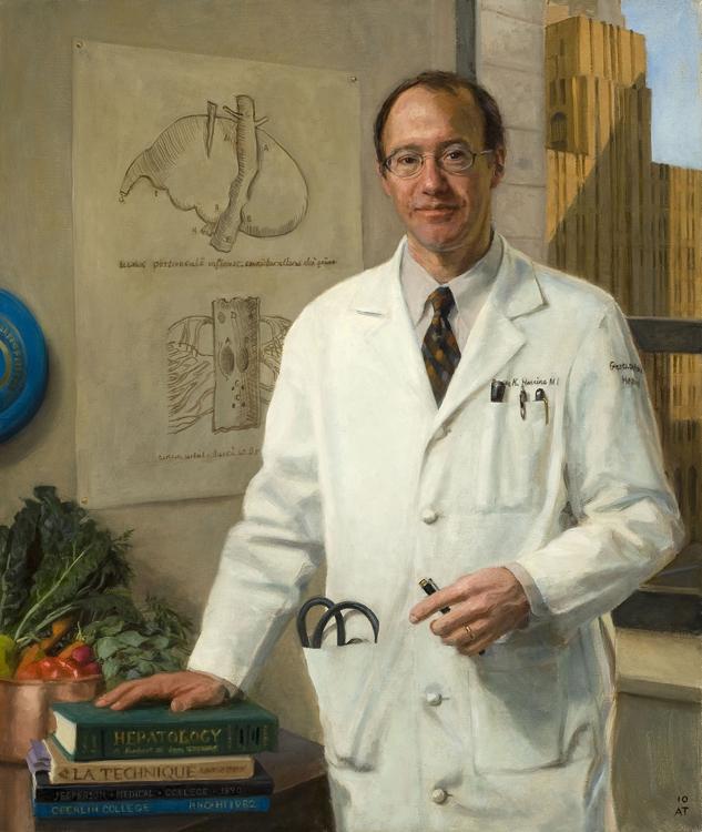 """Steven K. Herrine, M.D.  , oil on linen, 38"""" x 32""""  Collection Thomas Jefferson University Hospital, Philadelphia, PA"""