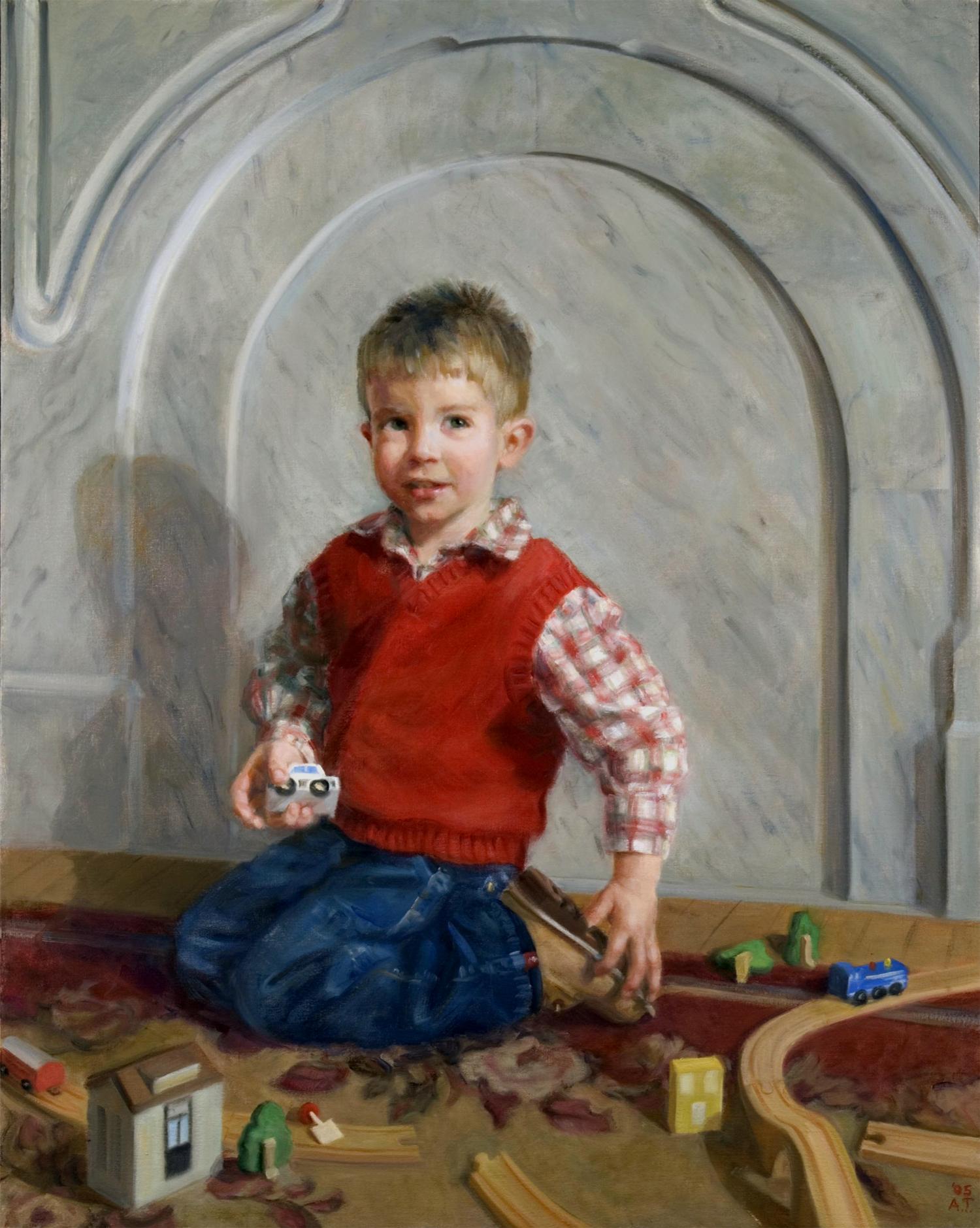 "George on Montgomery  , oil on linen, 38"" x 30""  Finalist, Children's Portraits, Members Showcase, Portrait Society of America, 2006"