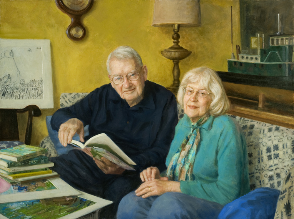 "Beth and Joe Krush   , oil on linen, 36"" x 48"""