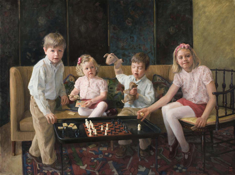 """Four-Way Strategy  (Caroline, James, George and Elizabeth), oil on linen, 48"""" x 64""""  Finalist, Portrait and Figure Category, The Artist's Magazine 25th Annual Competition, 2008; Fourth Place Award, Multiple Figures, Portrait Society of America, 2008."""