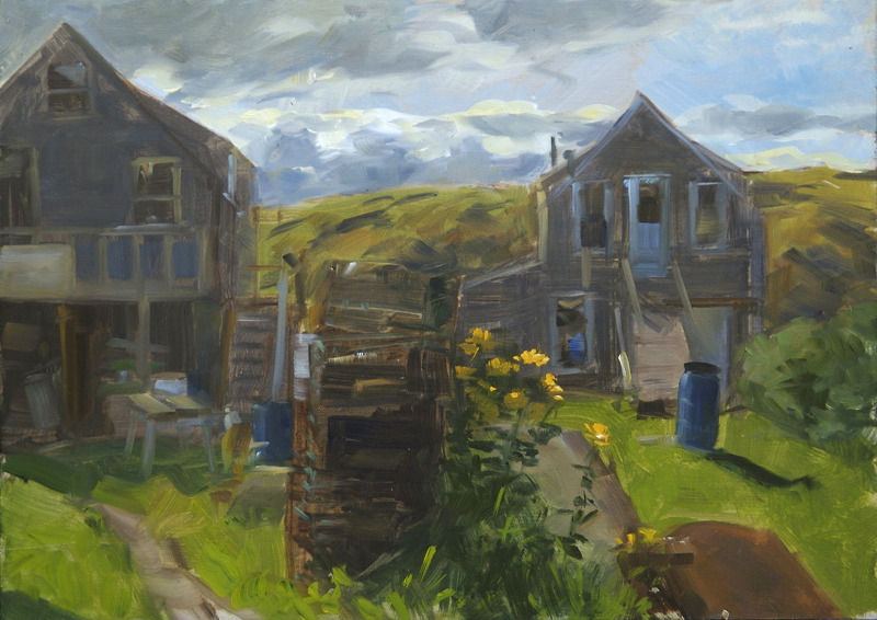 """Fish Houses Against the Light   , oil on board, 11"""" x 14"""""""