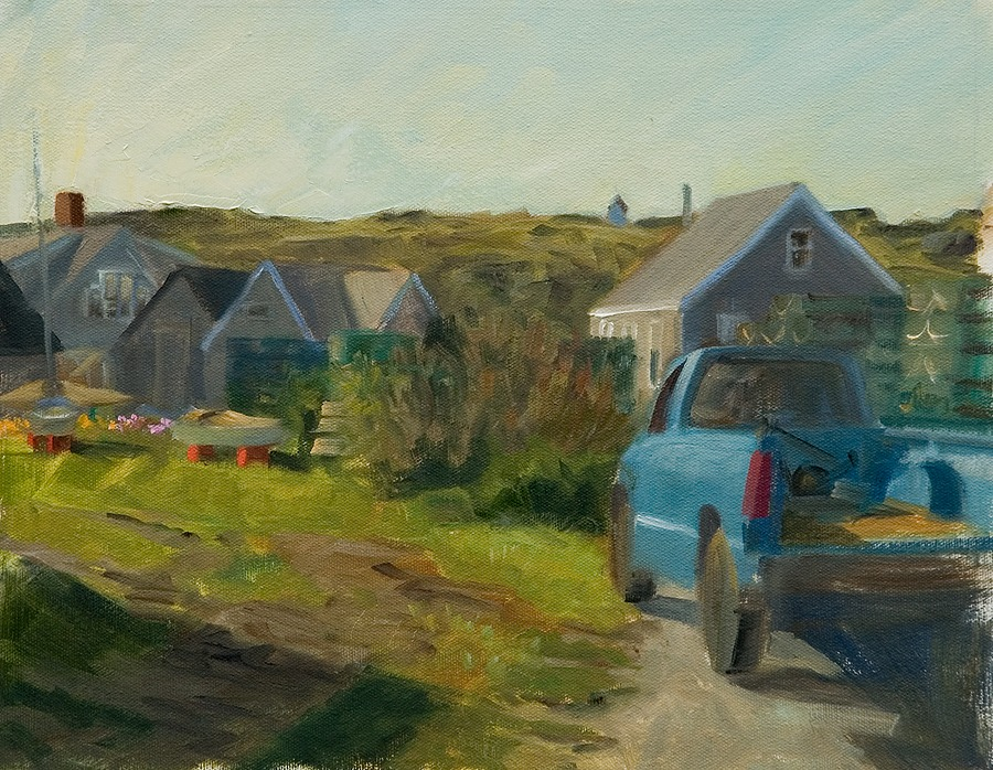 """Fish Houses and Blue Truck   , oil on canvas, 11"""" x 14"""""""