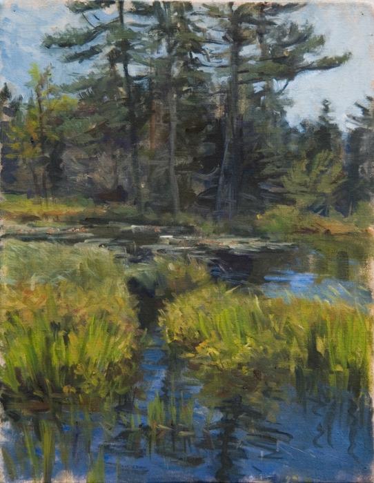 "Marsh at Pond's End   , oil on linen, 18"" x 14"""