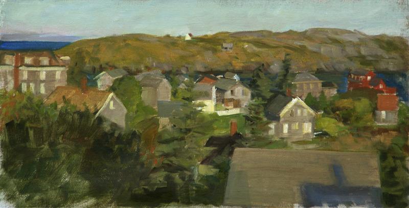 """Morning Sun on Monhegan Village   , oil on linen, 9"""" x 18"""""""
