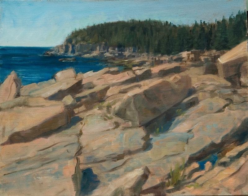 Otter Cliffs, Ocean Drive   , oil on linen