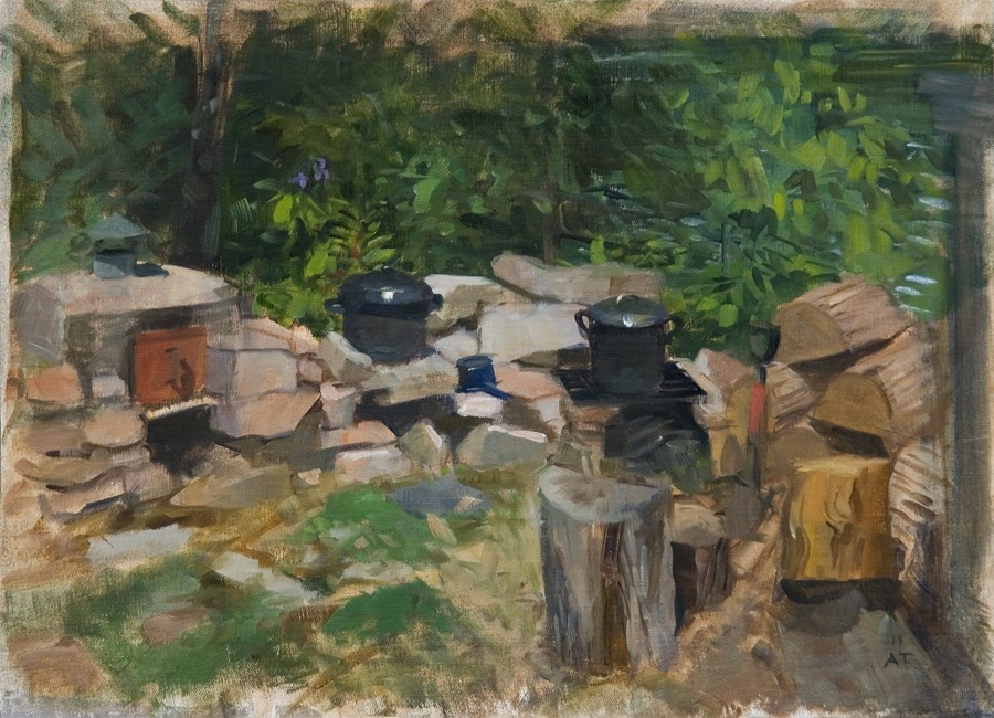 """Nan's Pots   , oil on linen on MDF board, 13"""" x 18"""" (SOLD)"""