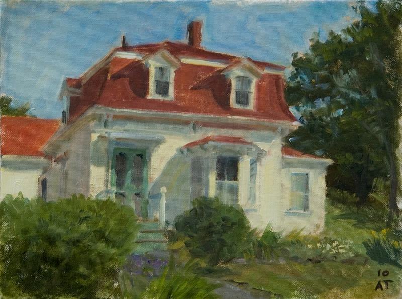 """Red Mansard, Stonington   , oil on canvas board, 9"""" x 12"""""""