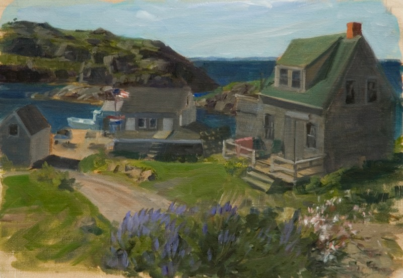 """Road to Ferry Dock   , oil on linen, 11"""" x 16"""""""