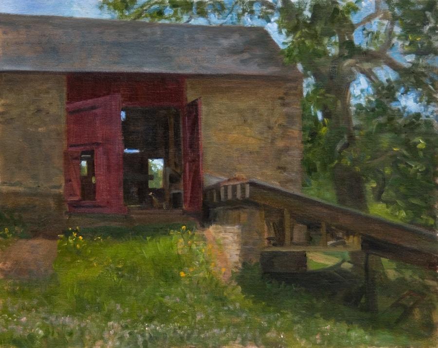 "Through the Barn, Fiorella Farm   , oil on linen, 16"" x 20"""