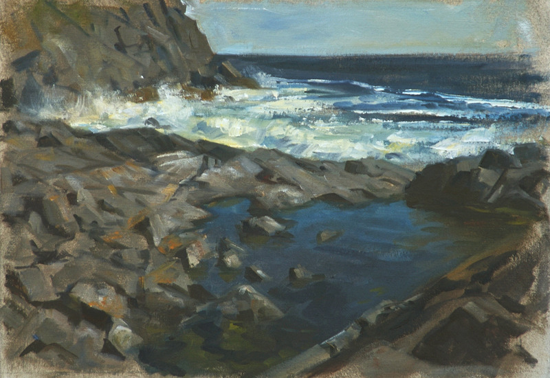 """Surf and Calm   , oil on linen, 10"""" x 15"""""""